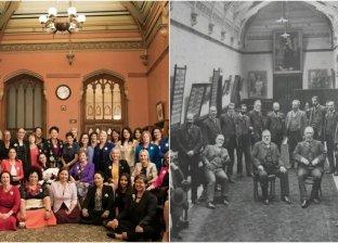 عضوات في البرلمان النيوزيلاندي يحتفلن بذكري فوز المرأة بحق التصويت بإعادة إحياء صورة قديمة