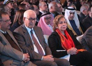 السفيرة مرفت التلاوي اثناء مشاركتها في المؤتمر الاعلامي