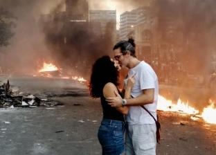 زوجان لبنانيان وسط المظاهرات