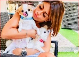 منة فضالي مع كلبيها