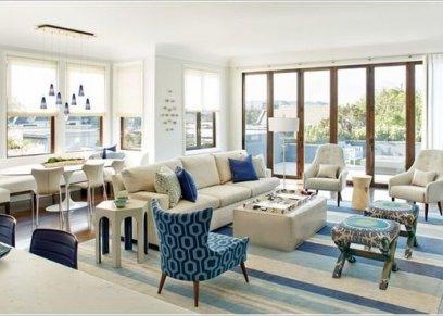 بالصور| استخدمي اللونين الأبيض والأزرق في ديكور منزلك