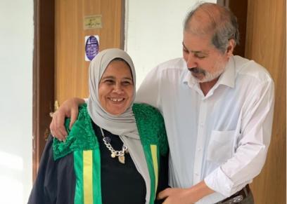 الدكتورة نجوى عبدالوهاب رفقة زوجها