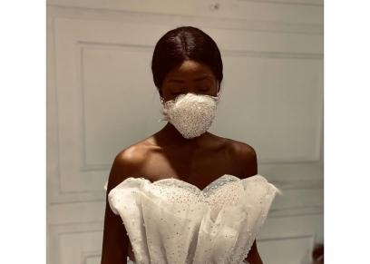 فستان زفاف مع كمامة من توقيع سامو هجرس