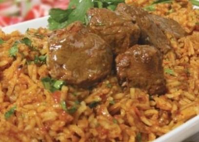 أرز أحمر باللحمة