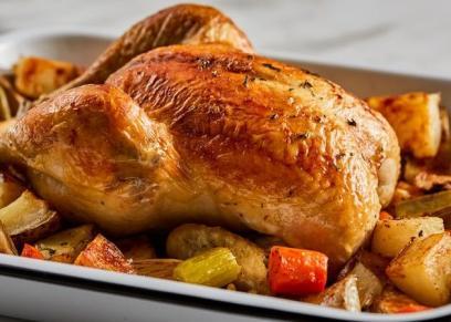 دجاج مشوي بالخضار