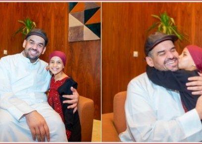 حسين الجسمي مع الطفلة المغربية