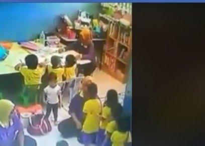 معلمة تعنف الأطفال بالحضانة