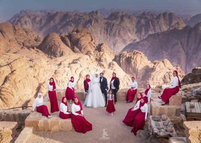 حفل زفافا على قمة جبل موسى