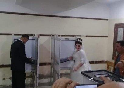 بالصور| حفلات زفاف وخطوبة داخل لجان الإستفتاء في المحافظات