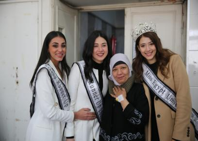 ملكة جمال مصر ووصيفتيها في المعهد القومى للأورام ٧٧٧