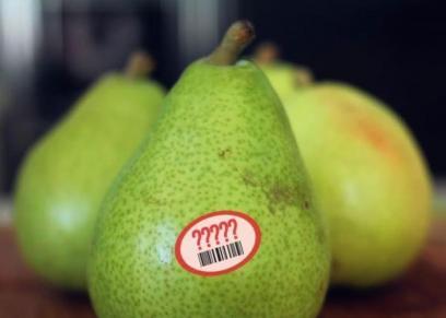 سر الملصقات على الفواكه والخضروات