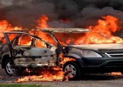 حرق سيارة امرأة سعودية..