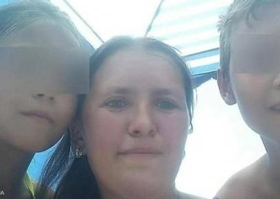 امرأة روسية وأبنائها