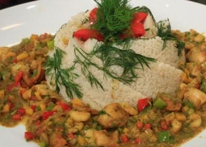 أرز بالجمبري والمستكة