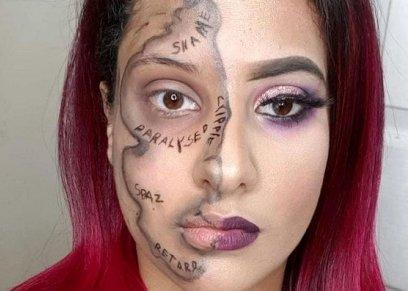 بينها قبيحة ومعاقة.. مصممة ماكياج يمنية تكتب على وجهها تعابير مؤذية