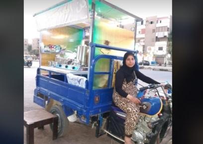رانيا محمد بائعة شاي وقهوة على تروسيكل