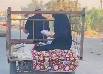 الطالبة العراقية سارة حسين ووالدها