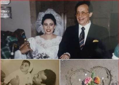 سماح أبو بكر عزت مع والداها الفنان الراحل خلال طفولتها وخفل زفافها