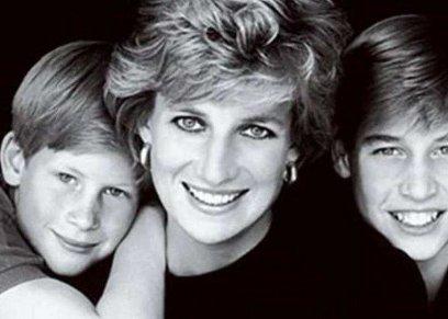 الأميرة ديانا وابنائها الأميران وليام وهارى