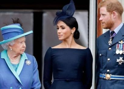 الملكة اليزابيث والأمير هاري وزوجته ميجان