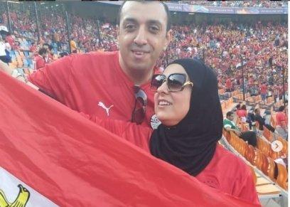 دعاء فاروق بصحبة زوجها في المدرجات
