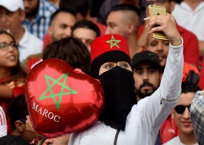 المغربيات اثناء التشجيع