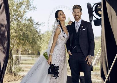 اللاعب الأسباني سيرجيو  راموس وزوجته