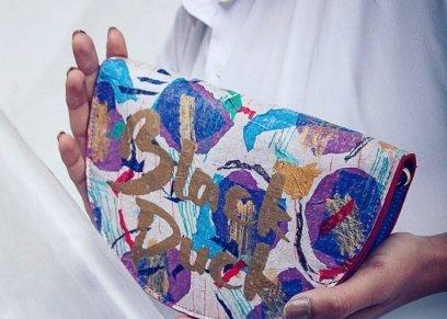 شنطة من أكياس البلاستيك والقماش المعاد تدويره
