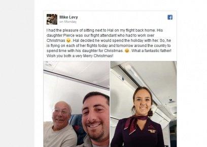بالصور| أمريكي يحجز 6 تذاكر طيران لرفقة ابنته الوحيدة خلال عملها بليلة الكريسماس
