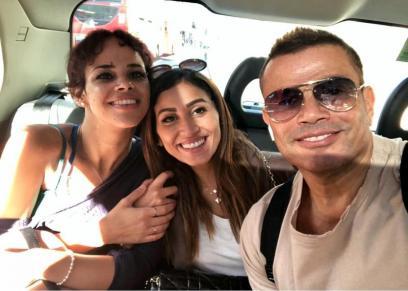 نور مع والدها عمرو دياب ودينا الشربيني