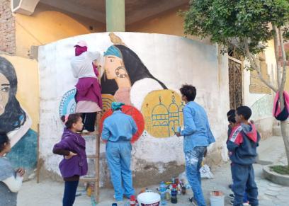 إحدى رسومات السيدات بقرية تونس