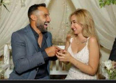 خلال حفل خطوبة هنا الزاهد والفنان أحمد فهمي