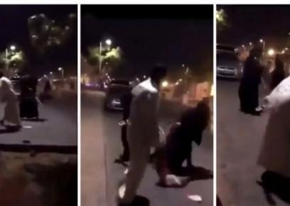 رجل سعودى يعتدي على فتاة في الشارع