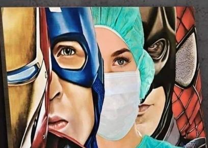 لوحة تجسد الأطباء والطاقم الطبي