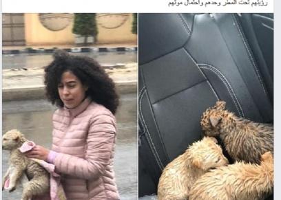 الصورة المتداولة لفتاة أنقذت 3 كلاب صغيرة