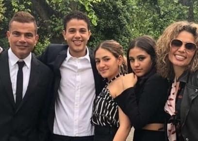 عمرو دياب وزينة عاشور وأبنائهما