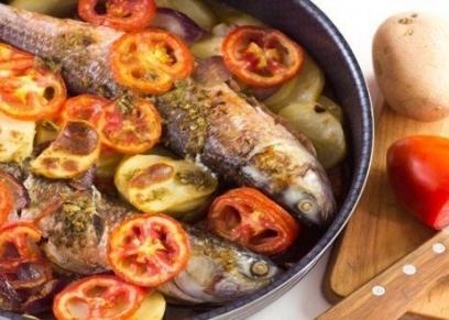 صينية السمك بالبطاطس
