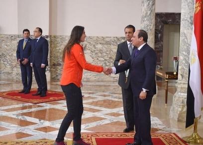 تكريم نور الشربيني من الرئيس عبد الفتاح السيسي