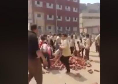 اجبار الطلاب على حمل الطوب بإحدى مدارس عين شمس