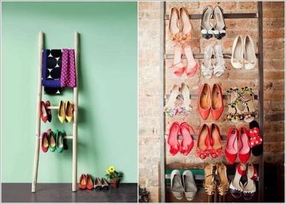 تنظيم الأحذية على السلالم