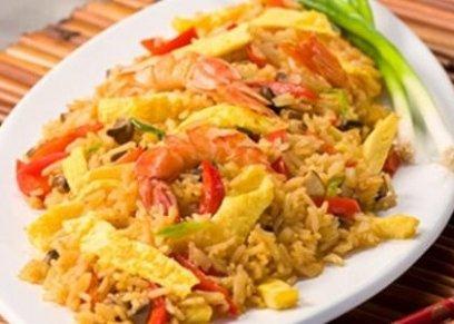 أرز بالجمبري مع العدس