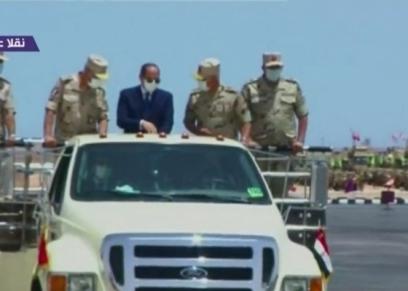 الرئيس السيسي خلال تفقده المنطقة الغربية