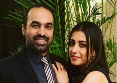 اللاعب جمال حمزة وزوجته رشا بدر