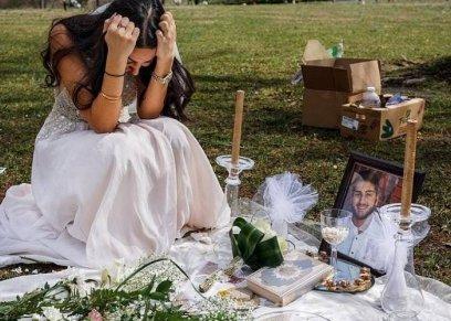 بالصور| بفستان الزفاف.. عروس تزور قبر خطيبها في اليوم المقرر لعرسهما