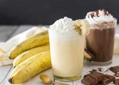 ميلك شيك الموز بالشوكولاتة