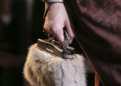 حقيبة يد من الفرو