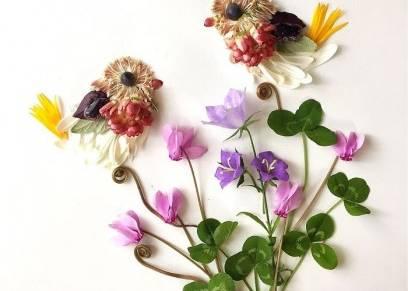 أوراق الشجر والزهور في عمل لوحات فنية ممي