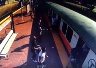 سيدة تنزلق ساقها أسفل قطار وترفض دخول المستشفى