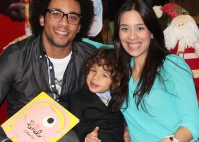 اللاعب البرازيلي مارسيلو وزوجته