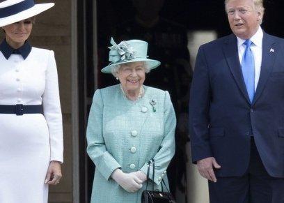 ثوب مزين بمعالم لندن.. هكذا استعدت ميلانيا ترامب لمقابلة إليزابيث الثانية